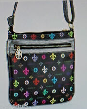 NEW!!  FLEUR DE LIS PURSE/HANDBAG/MESSENGER-BLACK/MULTI COLOR