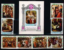 BL58 LIBERIA 1 Bloc et 8 timbres oblit Le Sacre de David et peintres celebres