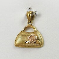 New 14K Rose & Yellow Gold 3D Handbag Purse Charm Pendant 1.1gr