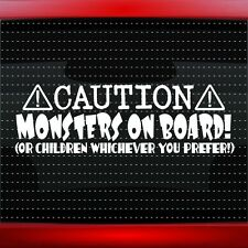 Caution Monsters On Board Funny Family Baby Kids Mom Car Decal Sticker 20 COLORS