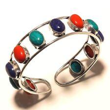 Stylish Silver Plated Multi Stone Cuff Bracelet Bangel Gemstone Jewelry