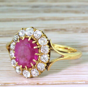 CHRISTMAS 0.72ct NATURAL ROUND DIAMOND 14K SOLID YELLOW GOLD RUBY CLUSTER RING
