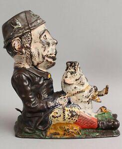 RARE Antique 19thC PADDY & PIG Leprechaun JE Stevens Cast Iron Mechanical Bank