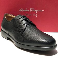 Ferragamo Black Pebbled Leather Formal Oxford 8 EE 41 Men's Dress Shoes Casual