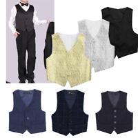 Kids Boys Gentleman Vest Waistcoat Tuxedo Wedding Formal Party Costume Suit Tops