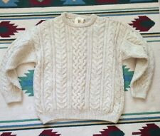 British Jacobs Wool Ivory Chunky Cable Sweater XL Shropshire Rare Breeds