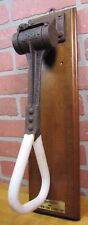 Antique Cast Iron Porcelain NY Subway Hanger Strap display mounted on wood board