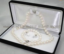 Beautiful 7-8MM Natural White Akoya Cultured Pearl Necklace Bracelet Earring Set