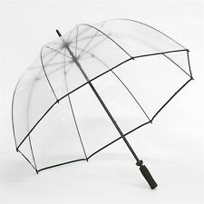 Clear Elite Rain Fiberglass Golf Bubble Dome Umbrella with Black Trim