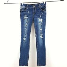 635a2e3615d Amethyst Womens Jeans Juniors Size 7 Blue Skinny Tanya Ripped Destroyed  Patched