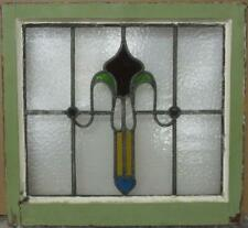 """OLD ENGLISH LEADED STAINED GLASS WINDOW Nice Abstract with Heart 20.25"""" x 18.75"""""""