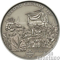 2nd Crusade - LOUIS VII OF FRANCE - Antique Finish Silver Coin 2009 Cook Islands