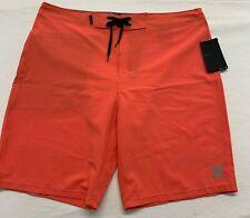 Hurley Phantom Men's Board Shorts Size 34 NEW Orange Stretch Polyester/Spandex