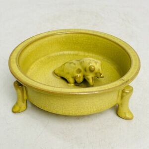 "5.3"" china old Antique Porcelain song dynasty ru Kiln mark 3 foot Brush Washer"
