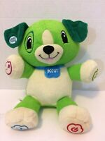 """Leap Frog My Pal SCOUT Interactive Learning Musical Green & Cream 12"""" Plush Dog"""