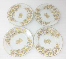 "(4) Carl Knoll Carlsbad 5-7/8"" Appetizer Dessert Salad Plates Gold Trim Monogram"
