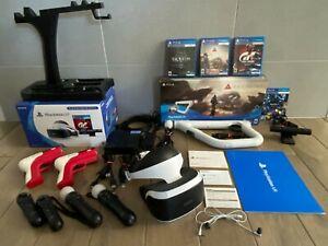HUGE Sony PlayStation VR PSVR Bundle CIB + Move Controllers, Camera, Games, More