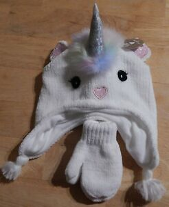 The Children's Place Toddler Girl's Unicorn Hat + Mittens Set Size M (2T/3T)