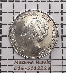 Mazuma *FC55 Nederlanden 1929 One Gulden Silver Coin F Only