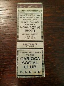 Vintage Matchcover: Carioca Social Club, Eddie McDermon Swing Band  54