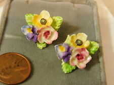 British Vtg Painted Fine Bone China Pink Rose Violet Flower Clip on Earrings