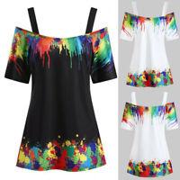 Women Plus Size Tie Dye Cold Shoulder Blouse Sling Casual T-Shirt Tunic Top 5XL