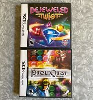 2 Games: Puzzle Quest Bejeweled Twist Nintendo DS Complete w/ Manuals TESTED Lot