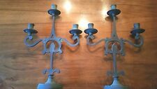Unique Pair of Italian Verde Metal Candelabras Candle Holders