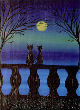 ACEO Original Acrylic Valentine Lovers Cats Kittens Romantic Painting Art HYMES
