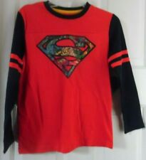 SUPERMAN RED BLACK SUPER HERO LONG SLEEVE BOYS T-SHIRT XL 14-16