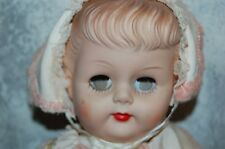 VINTAGE SOFT VINYL FACE 1950-1960'S BABY DOLL - MOLDED HAIR SQUEAKS SLEEPY EYES