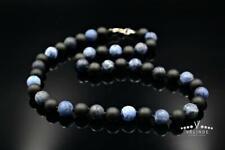Herren Halskette Edelstein Necklace Sodalith Onyx Geschenk für Mann 46 cm