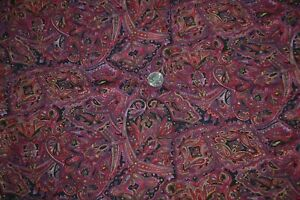 """Cotton quilting fabric 42"""" x 2.2 yards, paisley print in red purple black gold"""