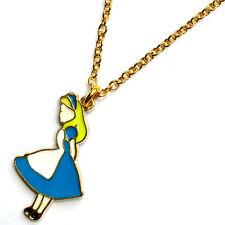 "ALICE IN WONDERLAND Necklace Gold & Enamel Charm Girls Funky Pendant 18"" Chain"