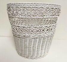 Vintage Wicker Cottage Beach Waste Paper Basket Shabby Chic White bin trash can
