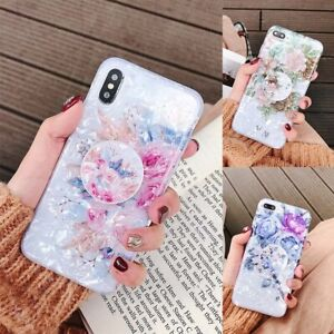 For iPhone 12 mini 11 Pro Max XS XR 8 Marble Flower Holder Stand TPU Case Cover