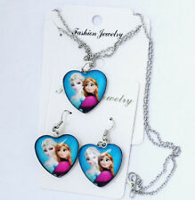 Disney's Frozen Anna and Elsa Glass Bubble Pendant Necklace and Earrings Heart