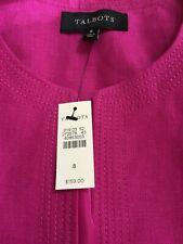 Talbots Womens 8 fuschia 100% Linen Skirt Suit NWT
