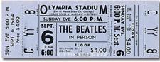 1  BEATLES VINTAGE UNUSED FULL CONCERT TICKET 1964 Detroit, MI Blue  laminated