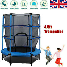 Blue 4.5 FT Round Trampoline w/ Safety Protective Net Jumping Fitness Trampoline
