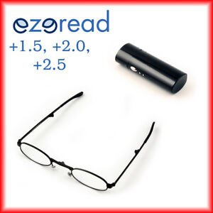Folding Reading Glasses +1.5, +2.0, +2.5 Black Metal with case
