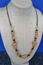 Long Lava Stones with Glass Crystal, Wood and Tibetan Silver Beads Necklace
