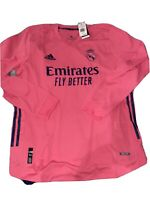 $140 Men's Large Real Madrid Authentic Jersey Pink Long Sleeve Kit Shirt NWT