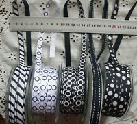 BLACK & WHITE Grosgrain 10mm Wide - 5 Metre Lengths - 5 Design Style Choice