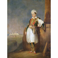 Portrait Poet Lord Byron Greek Costume Royal Historic Large Canvas Print
