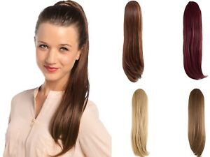 LADIES TULIP STRAIGHT CLIP IN PONYTAIL 24 QUALITY SYNTHETIC HAIR EXTENSION-B8968