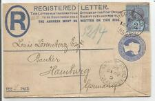 1894 2d REGISTERED LETTER SENT TO GERMANY UPRATED 2.5d JUBILEE SEE SCANS