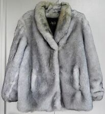 Style VI Faux Fur Coat Ladies Size 10 White Gray Made in USA Fully Lined Jacket