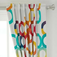 "Colorful Circles Bright Graphic Serpentine 50"" Wide Curtain Panel by Roostery"