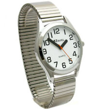 Men's Super-Clear Quartz Watch by Ravel with Expanding Bracelet Silvertone 22